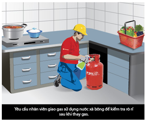 kiểm tra gas rò rỉ khi thay thế bình gas
