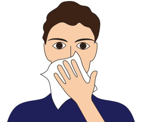 Cover your cough sick ill fever flu cold sneeze vomit disease people pictogram.